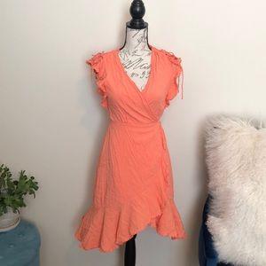 Lulus orange wrap dress size large